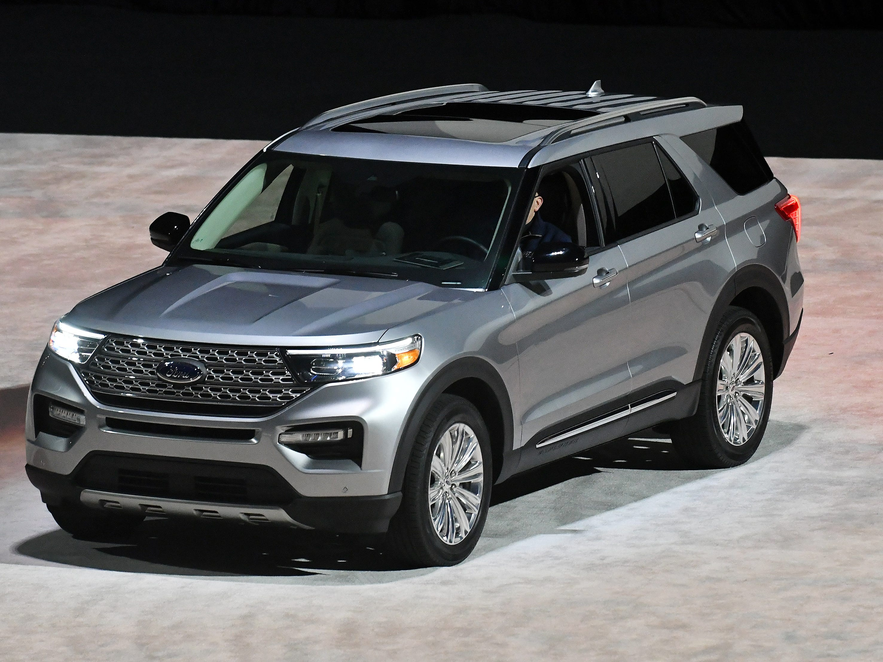 The 2020 Ford Explorer: The new Explorer, which debuted a few days before the auto show began, gets a more athletic stance, the roof tapering to the back end.