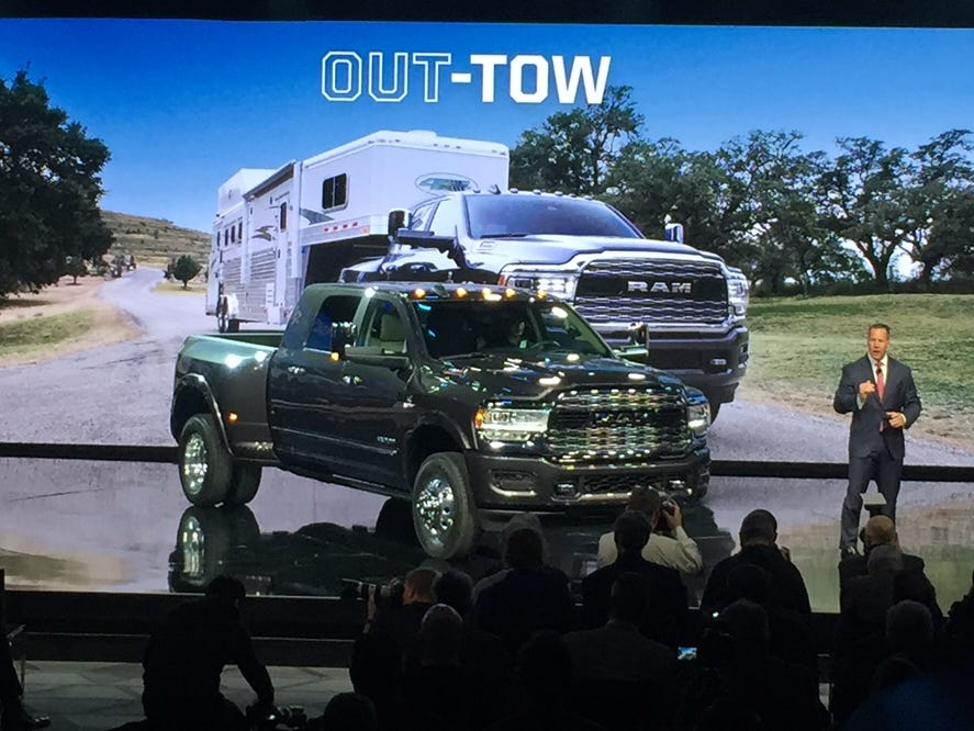 The Ram 3500 HD truck is introduced by Reid Bigland, head of the brand, Monday at the North American International Auto Show.