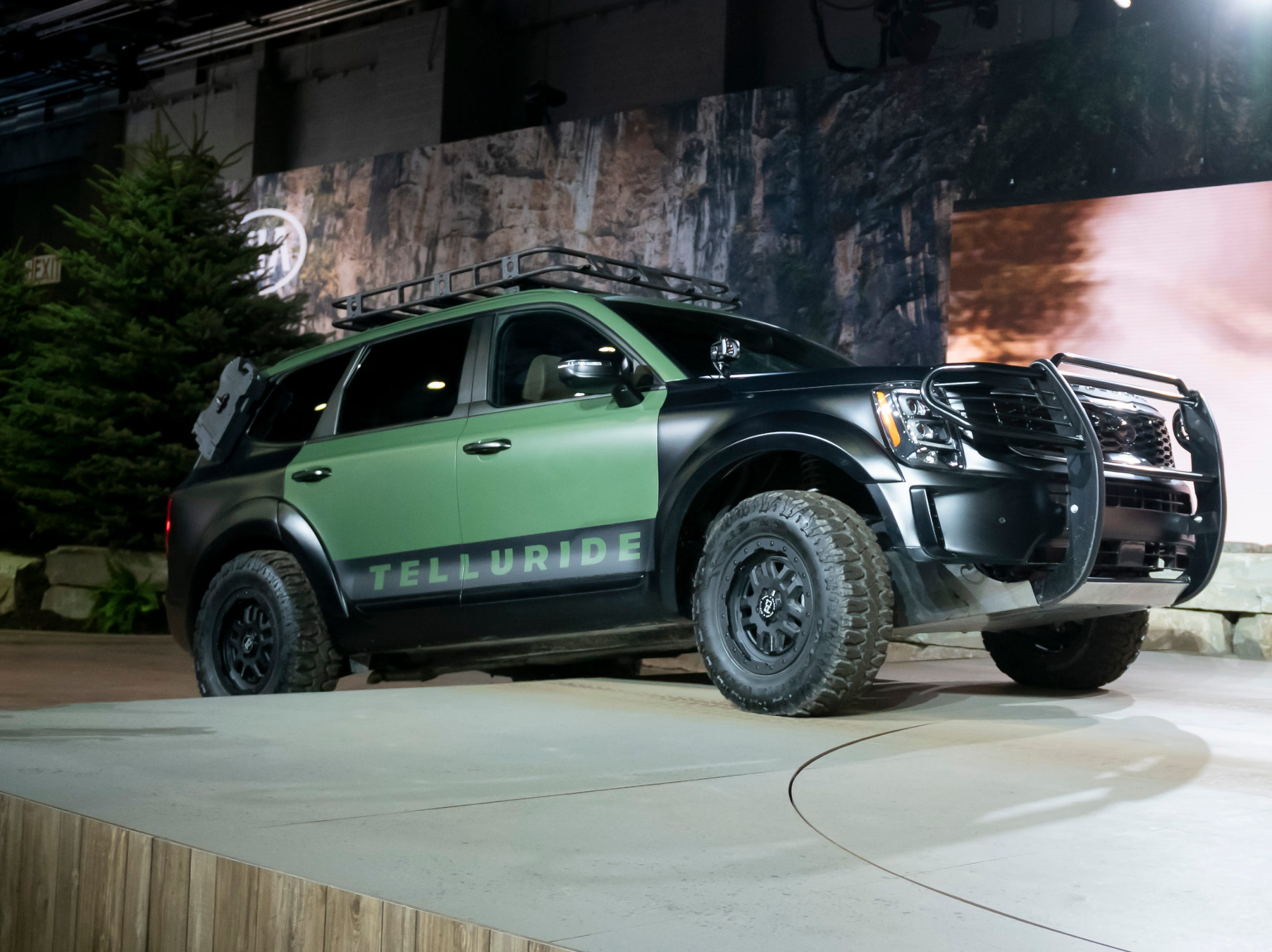 The 2020 Kia Telluride is driven on an off-road course during its introduction.