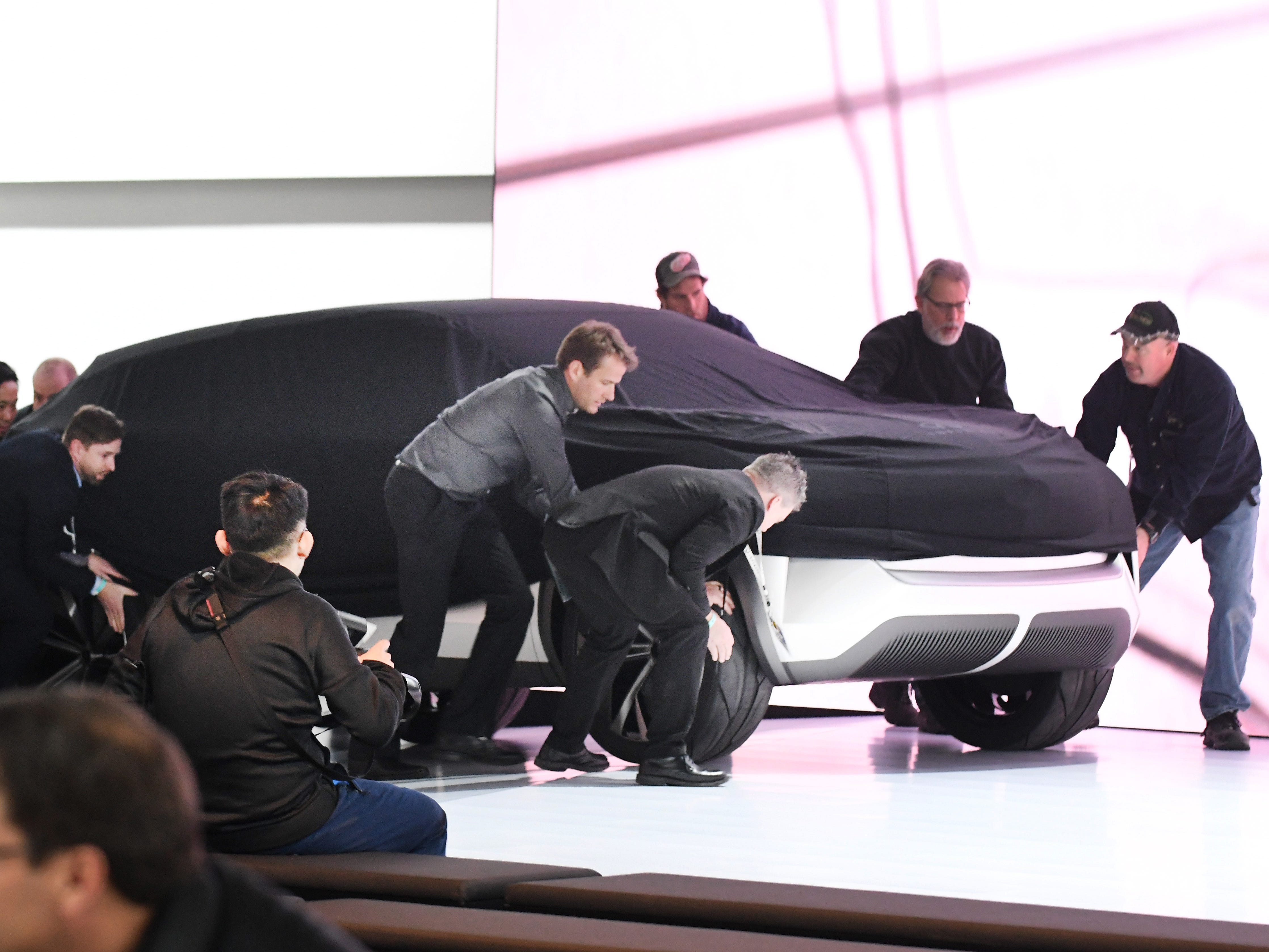 Infiniti QX Inspiration concept vehicle, which did not make it to the stage during the reveal, is rolled to the Infiniti display at the North American International Auto Show media preview day at Cobo Center in Detroit on Jan. 14, 2019.