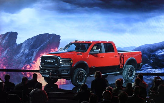 The 2019 Ram Power Wagon takes the stage during the Ram heavy duty trucks press event at the North American International Auto Show at Cobo Center in Detroit on Jan. 14, 2019.