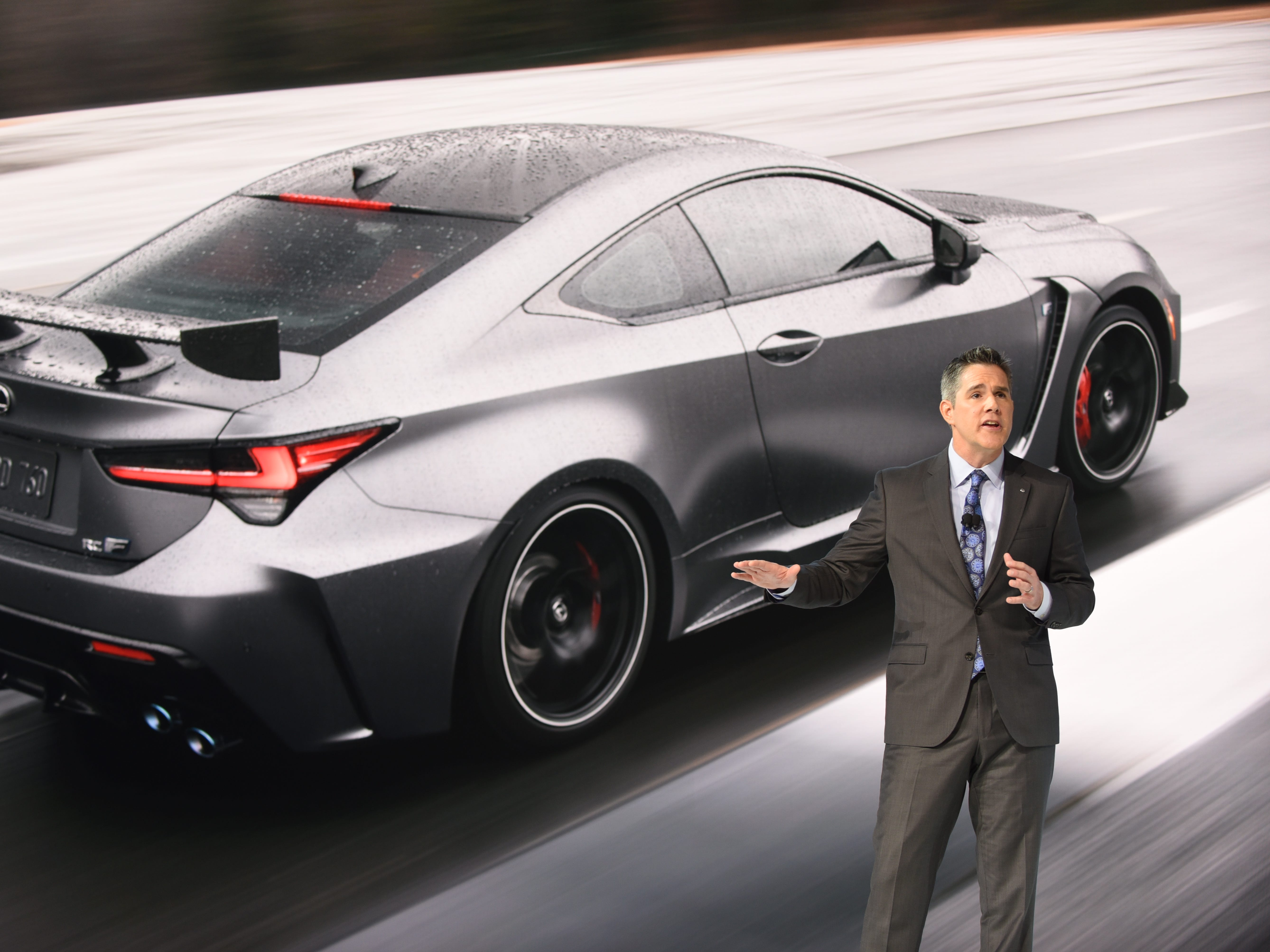 David Christ, Group President and General Manager, Lexus Division, unveils the Lexus RC F Track Edition at Cobo Center on Monday, January 14, 2019.
