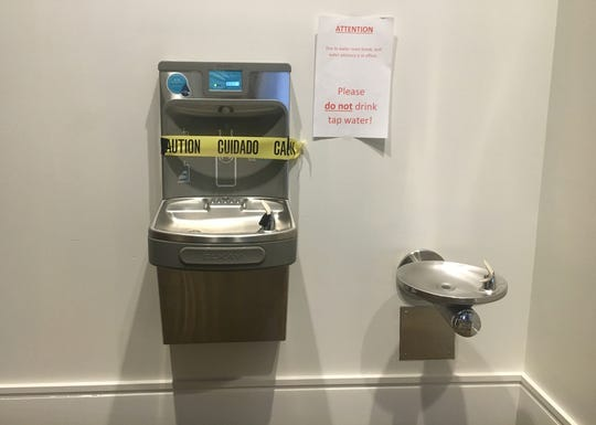 Drinking fountains at Cobo blocked off Monday morning.