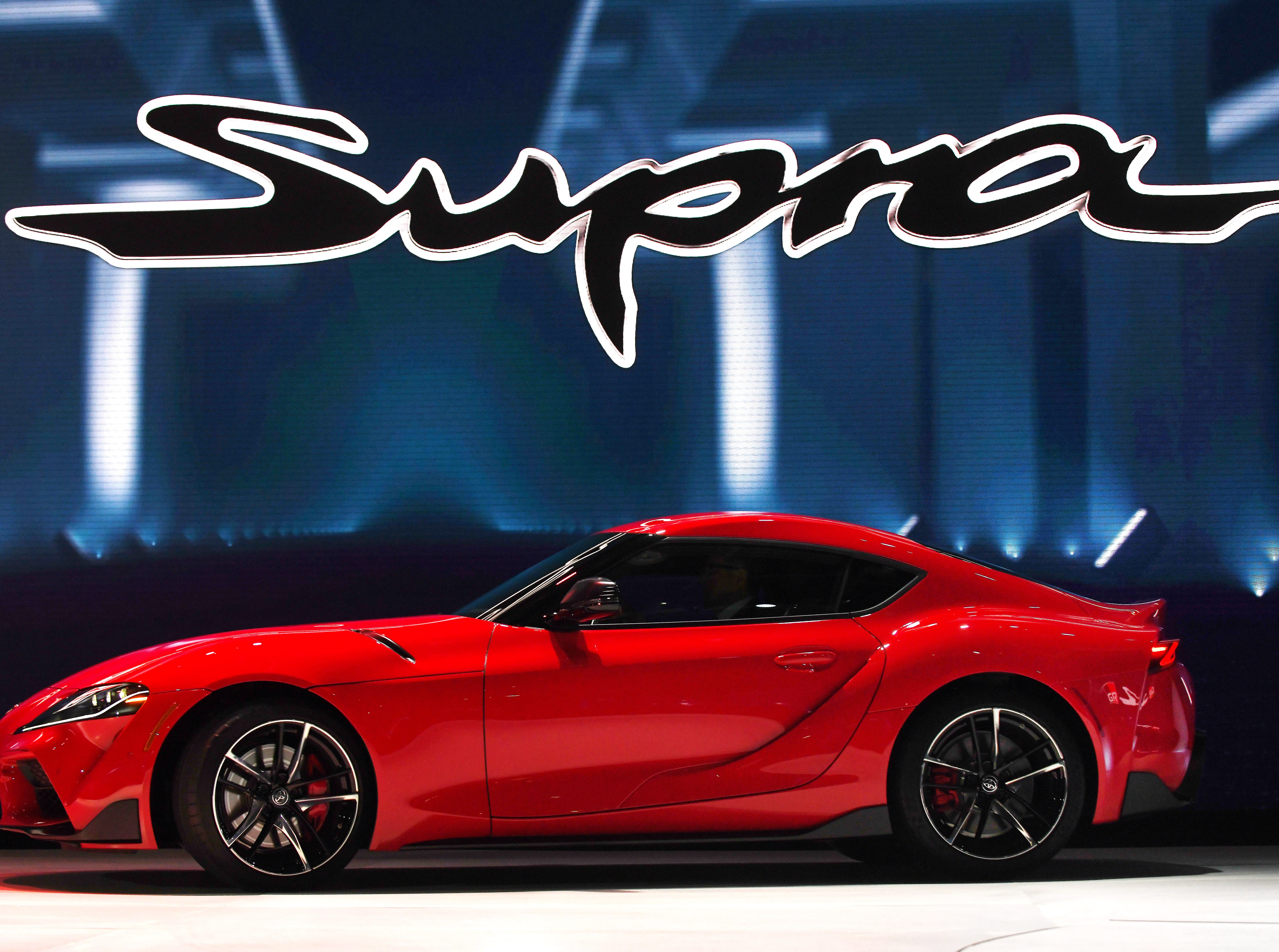 The 2020 Toyota Supra is revealed at the North American International Auto Show media preview day at Cobo Center in Detroit on Monday, Jan. 14, 2019.