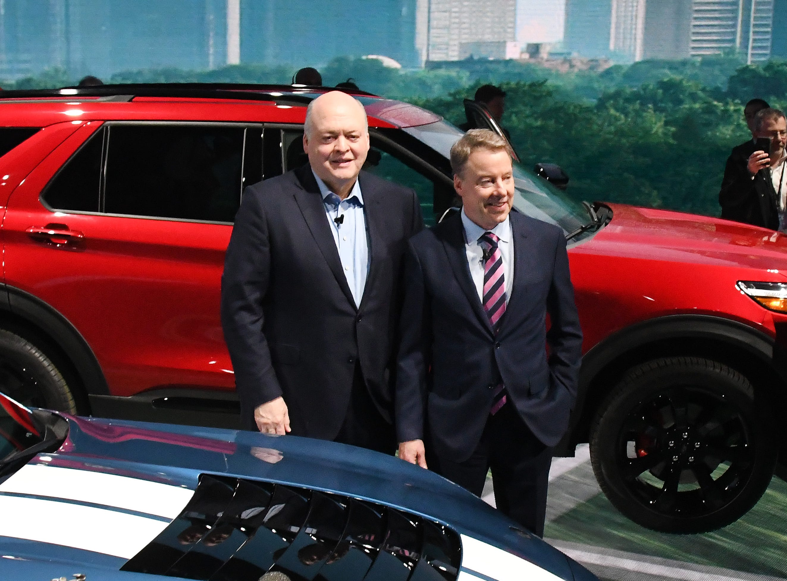 Ford CEO Jim Hackett, left, and Ford Executive Chairman Bill Ford Jr. stand together at the North American International Auto Show media preview day at Cobo Center in Detroit.