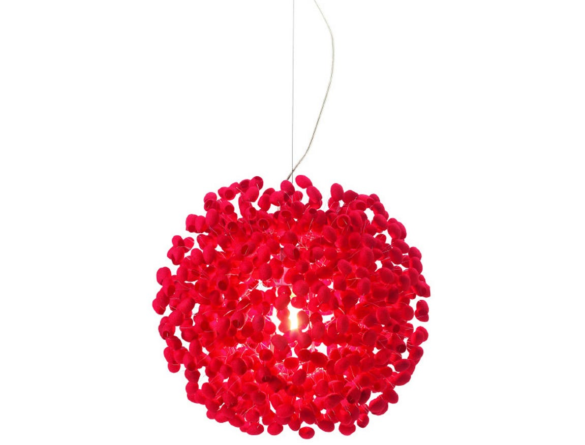 Raw silk cocoons dyed vibrant red fashion the Cherry Moon 20 1/2-inch-diameter pendant on a base of brushed stainless steel from the Thai brand Ango. The diffuser is a random configuration of silk cocoons, unprocessed -- used before the silk is spun off.