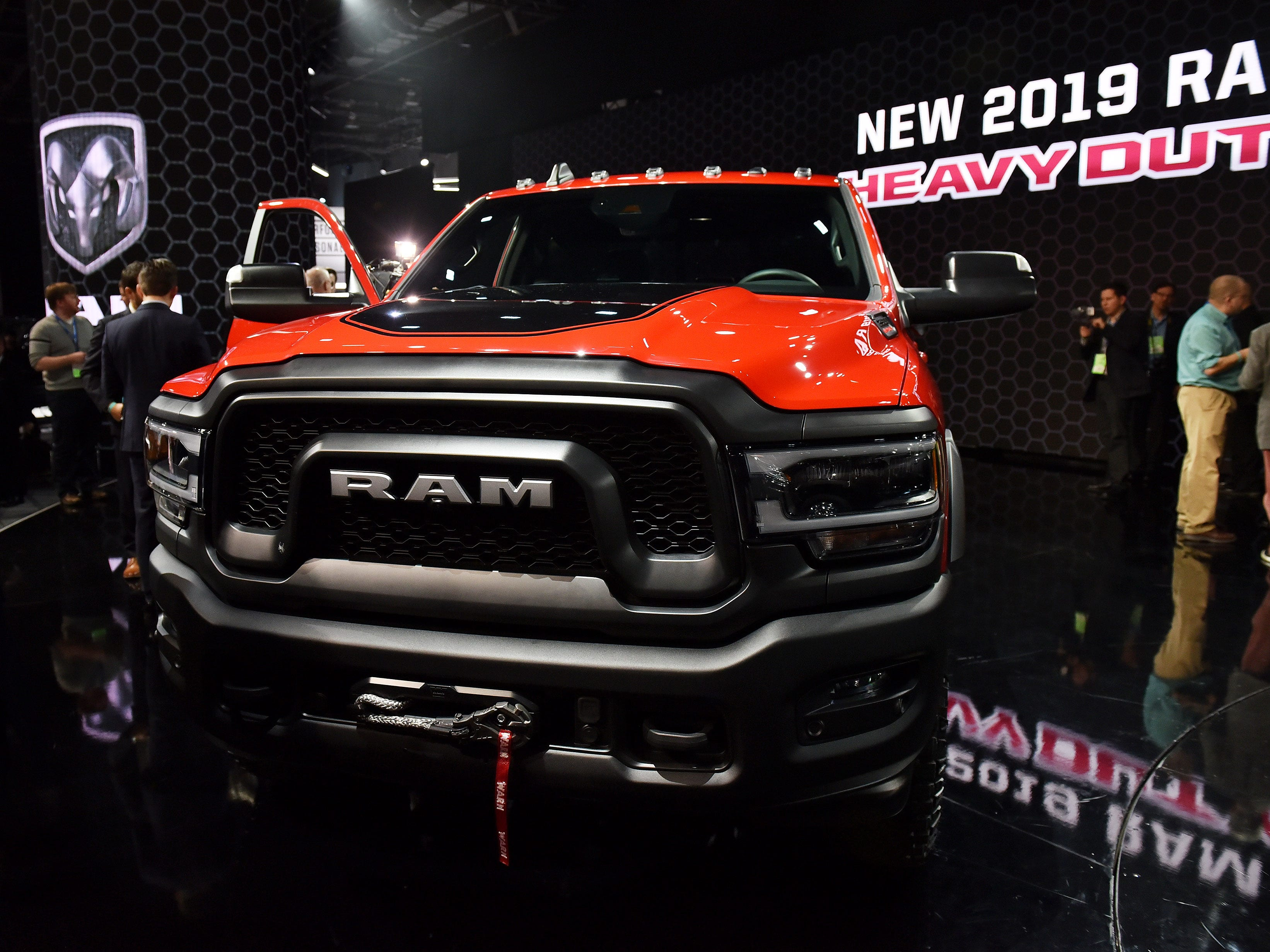 Ram heavy duty trucks:  2018 was a big year for pickups, and this year could be even bigger for big pickups. People check out the 2019 Ram Power Wagon, one of three new heavy duty trucks unveiled at the North American International Auto Show.