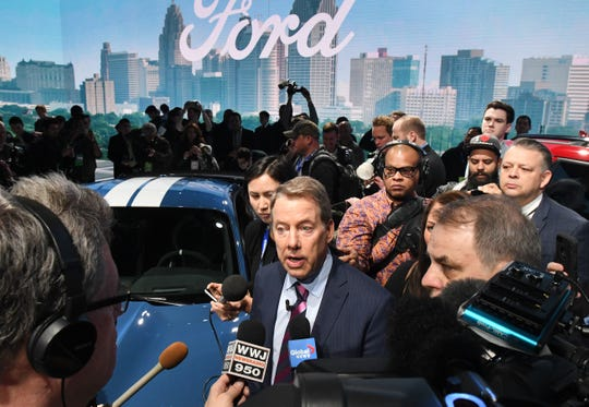 Ford Motor Co. chairman Bill Ford Jr. speaks to the media at the Detroit auto show on Monday at Cobo Center in Detroit.