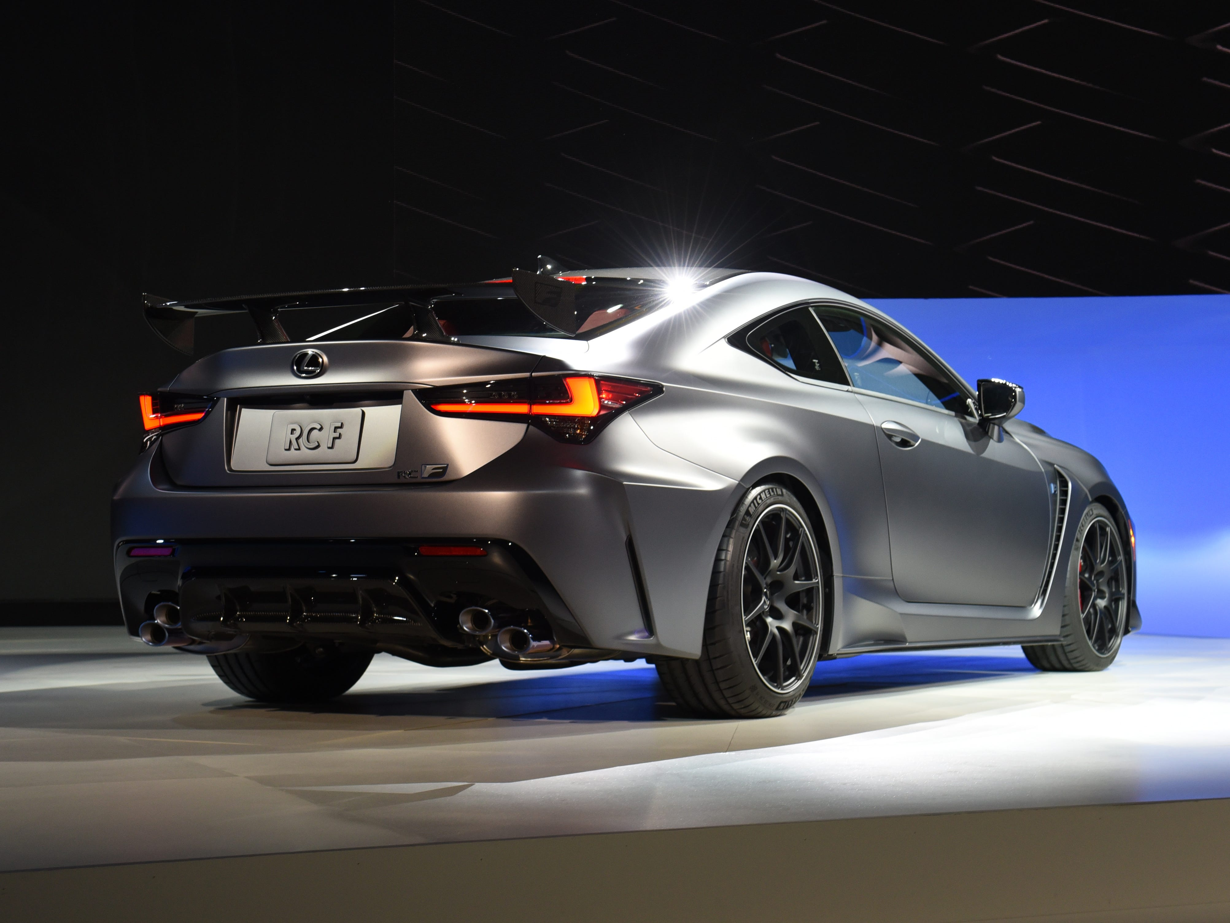 This is the rear of the Lexus RC F Track Edition.