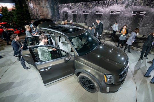 The 2020 Kia Telluride is revealed during the North American International Auto Show on Monday in Detroit.