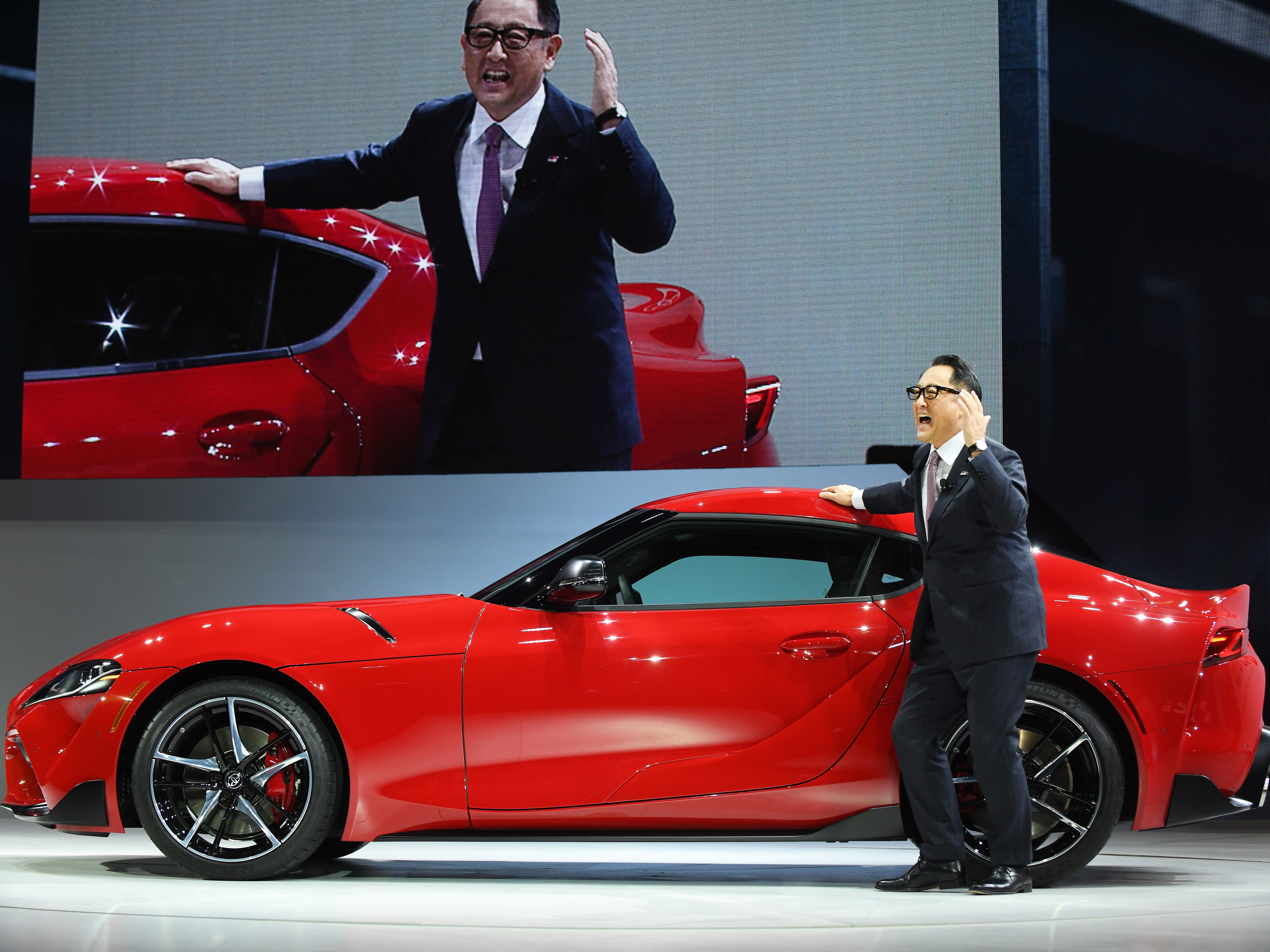 Toyota's President Akio Toyoda is very excited about the 2020 Toyota Supra at the Detroit auto show.