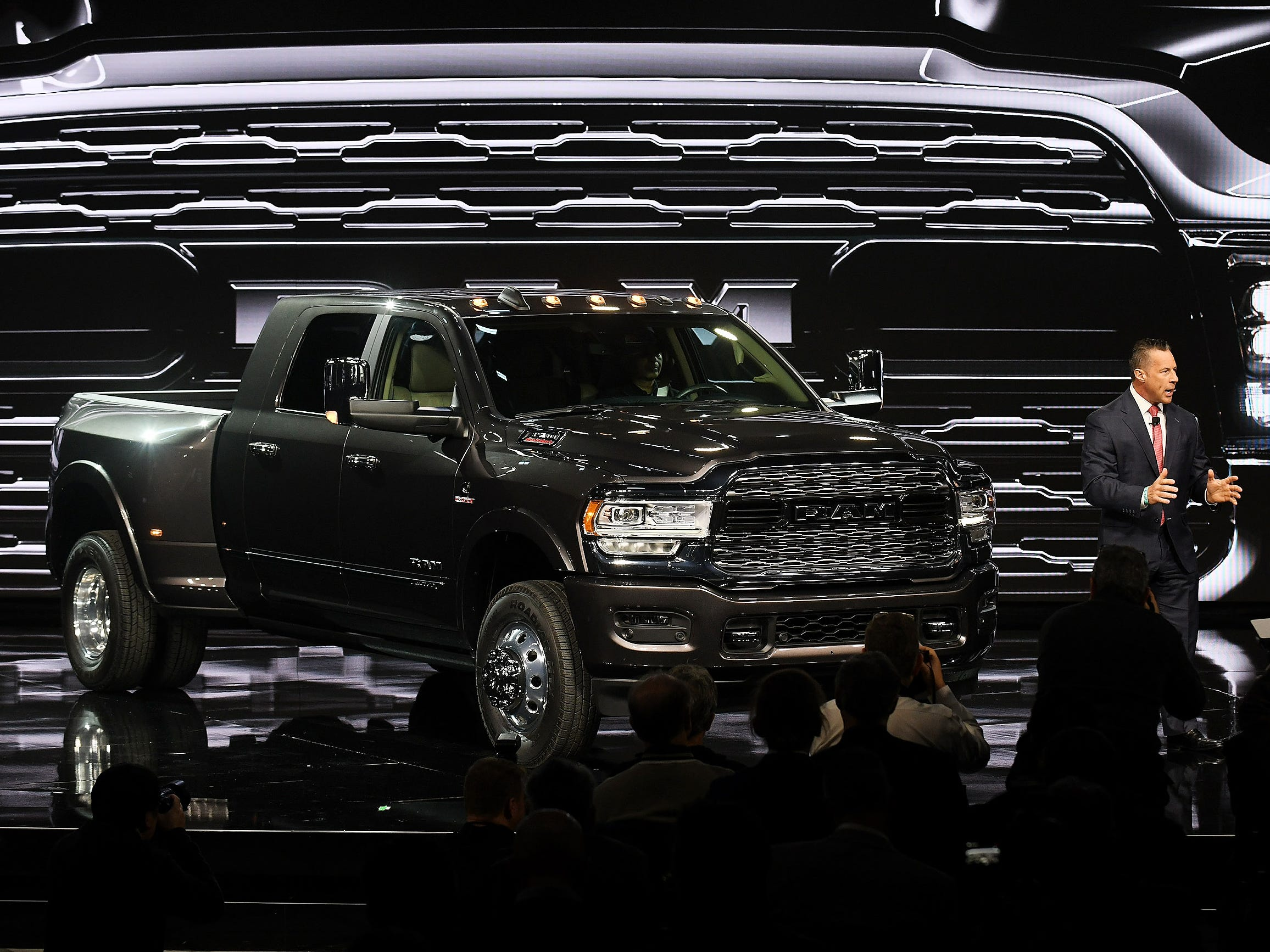 Reid Bigland, head of the Ram brand, talks about the 2019 Ram Heavy Duty 3500. The truck has the highest capability numbers for diesel- and gas-powered pickups, with 3,500-lbs. towing power and a and 7,680-lb. payload.