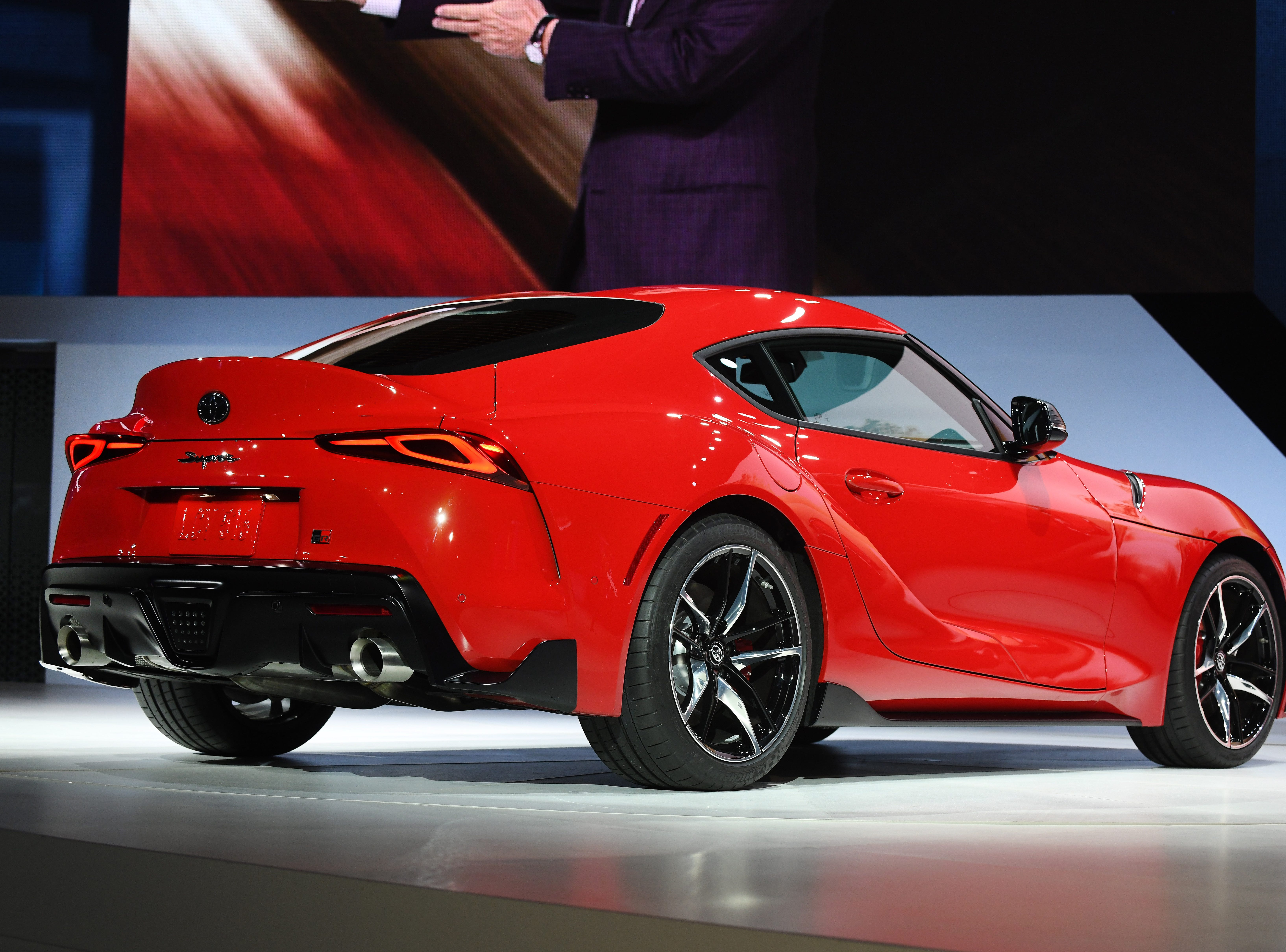 The 2020 Toyota Supra on display at the Detroit auto show.
