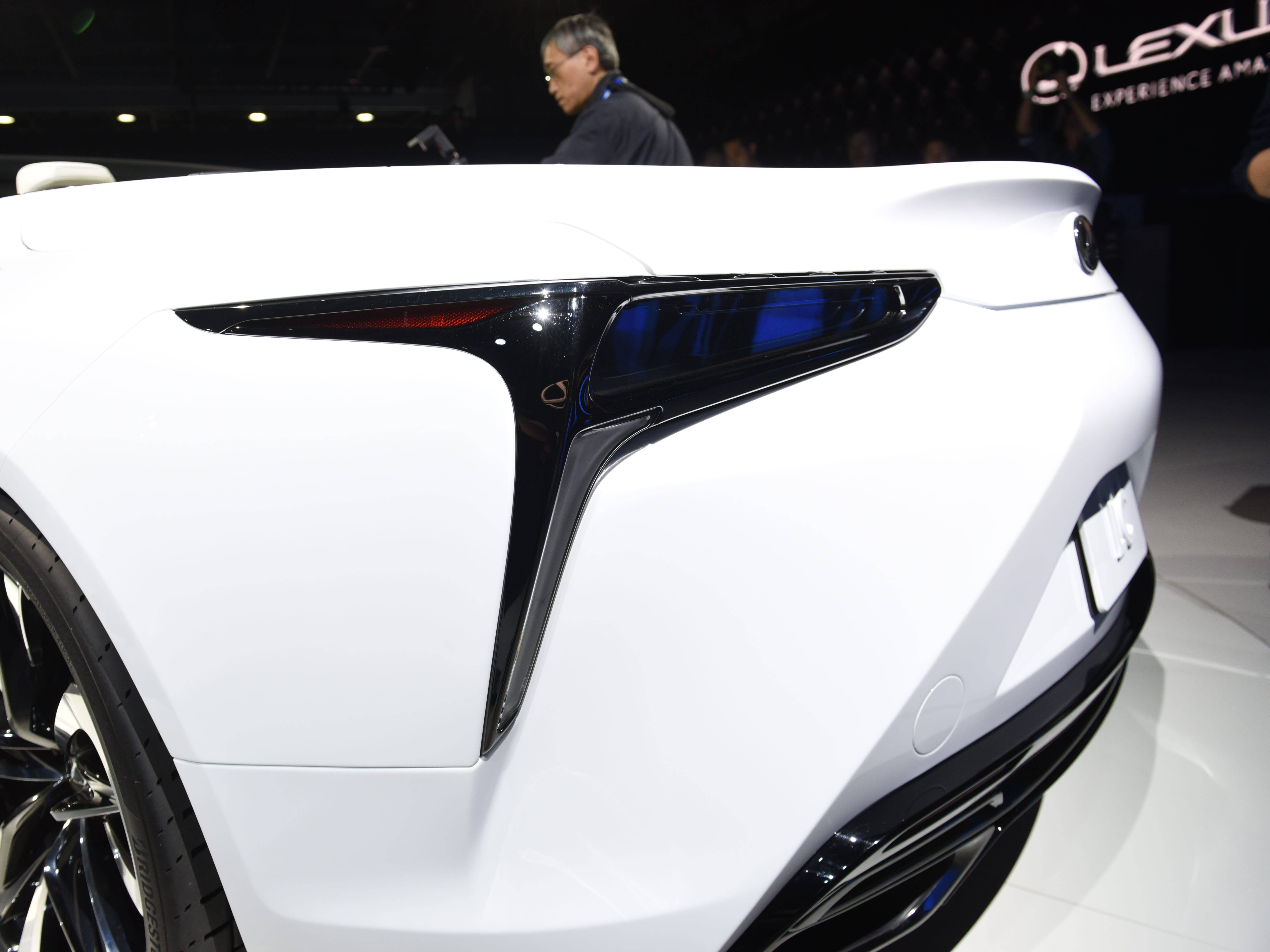 The Lexus LC Convertible concept shows off its unique rear tail-lights.