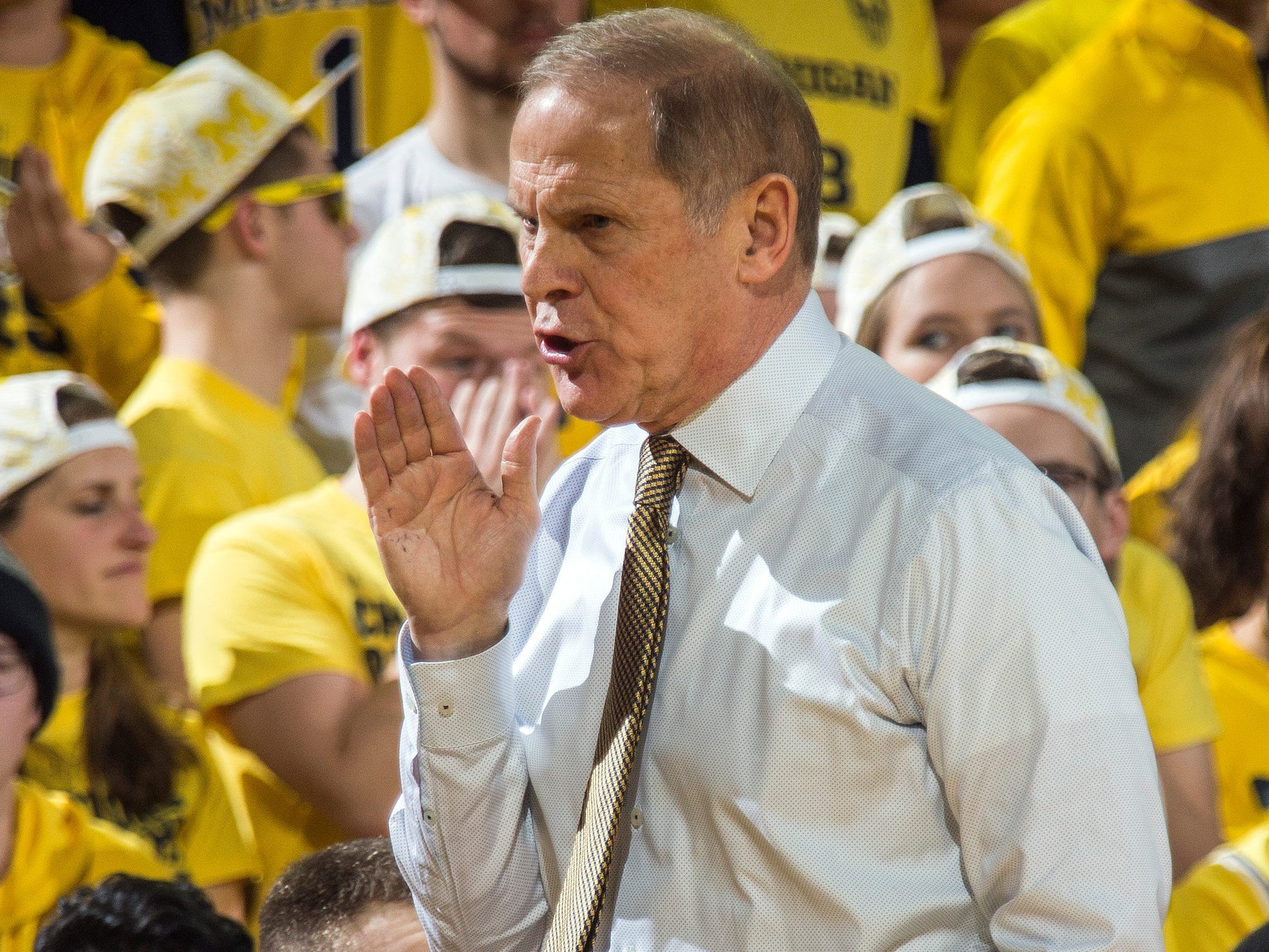Michigan head coach John Beilein reacts to a play in the first half.