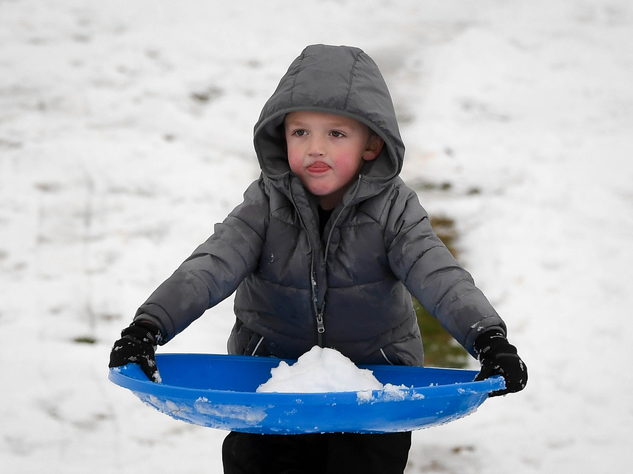 Being very careful, Camden Barkley carries a snowball to the top of the hill so he can throw it at his dad Aaron Barkley in a snowball fight at Henderson Municipal Golf Course Saturday, January 12 2019.