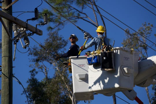 Linemen were attempting to restore electricity to about 2,500 LCEC customers after a crane toppled over near Pine Island and Burnt Store roads Monday morning.