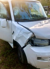 The Florida Highway Patrol said Alana Marie Tamplin, 12, was walking south on the edge of Durrance Road near Deal Road when she was hit by this vehicle Monday.