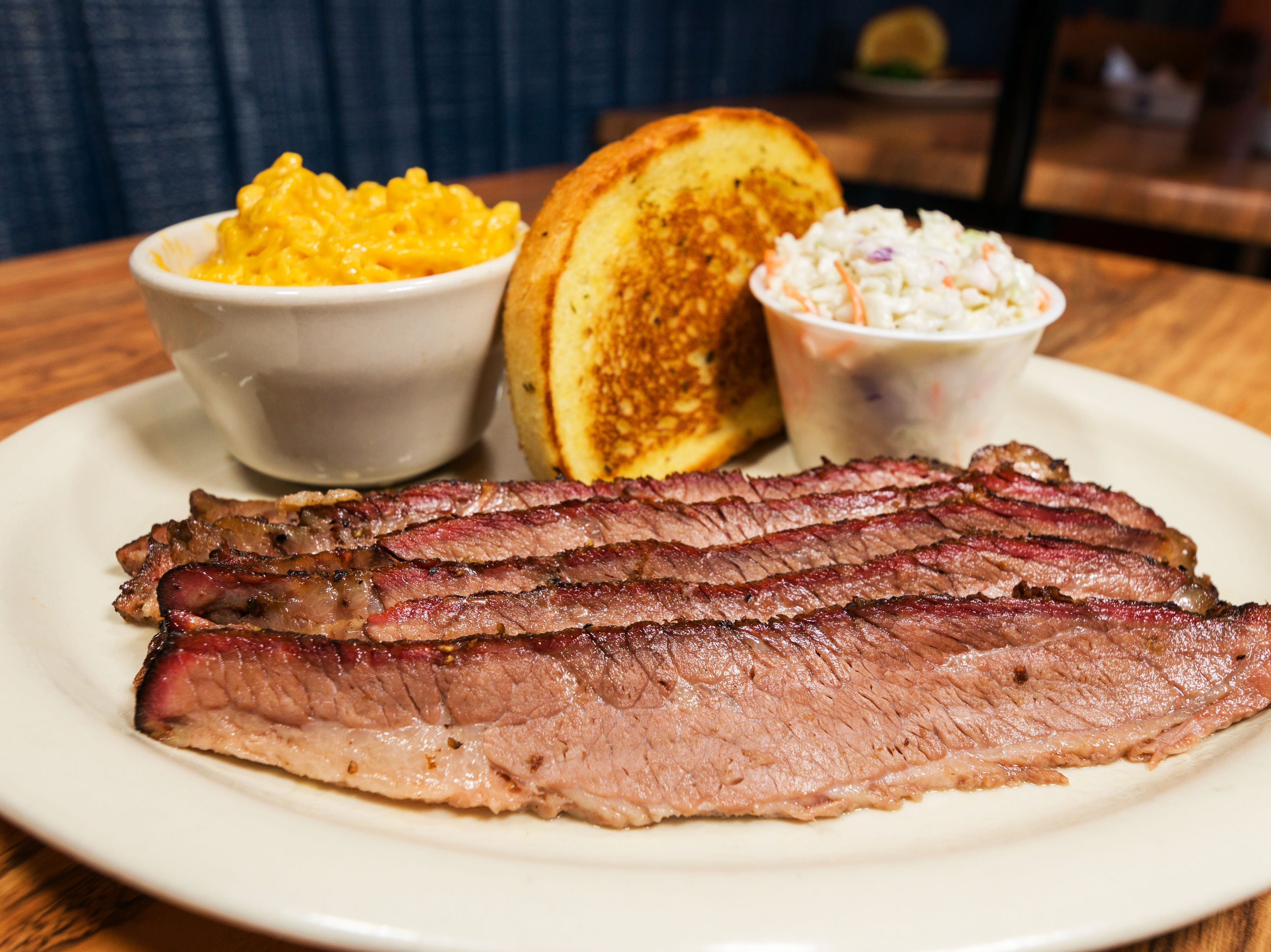 Sliced brisket with two sides from Texas Tony's Rib & Brewhouse.