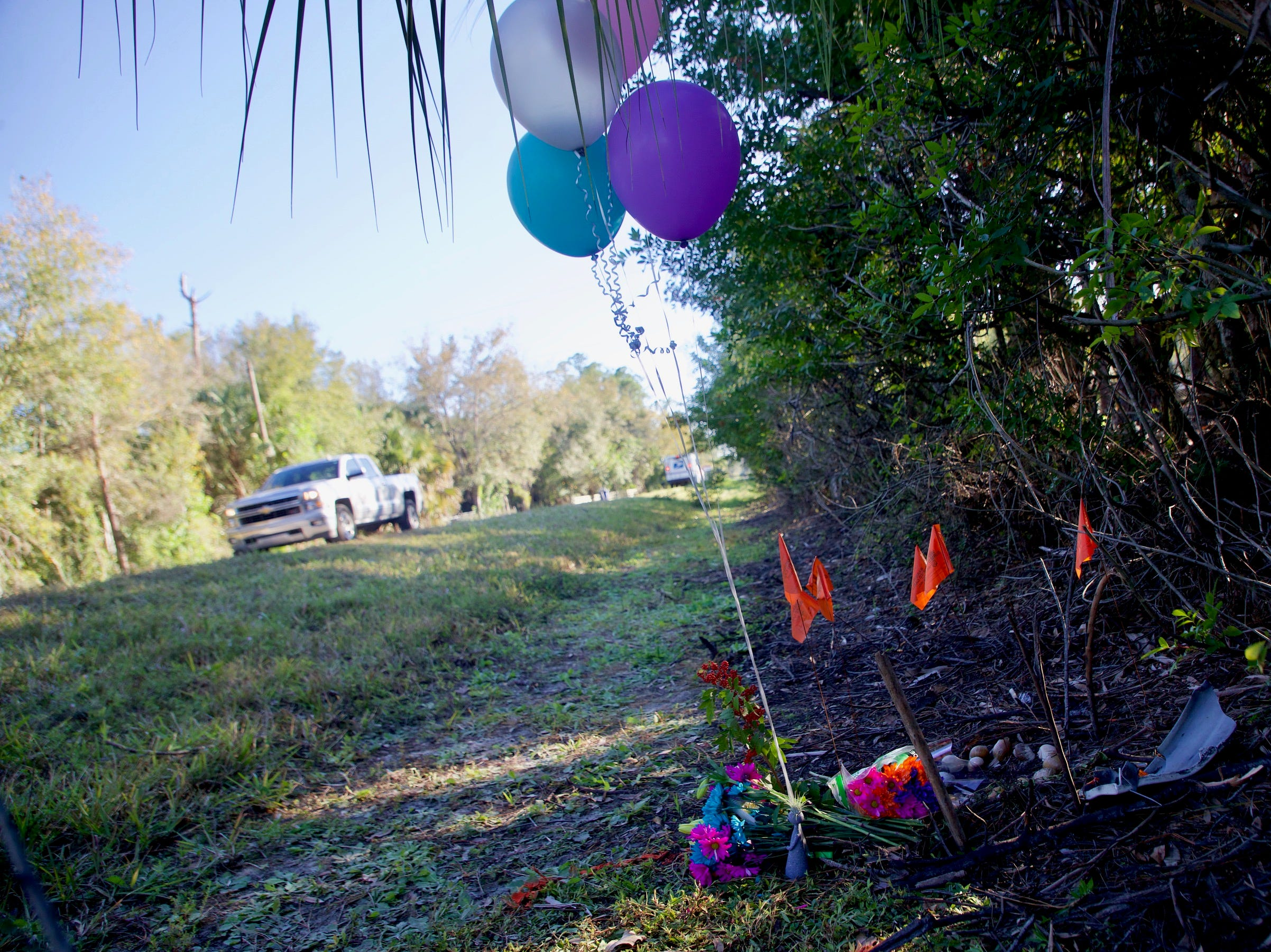 A memorial for 12 year old Alana Marie Tamplin has been set up on Durrance Road in North Fort where she was hit after dropping her sister off at a bus stop early Monday. She died at the hospital.