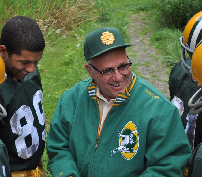"Neil Friedman, center, plays iconic Green Bay Packers coach Vince Lombardi in Peninsula Players' 2012 production of ""Lombardi."" He'll reprise the role in February for the Weidner Center's production."