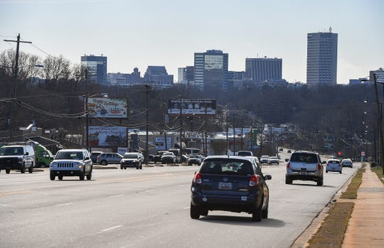 A view of the Greenville skyline from Wade Hampton Blvd. Thursday, January 10, 2019.