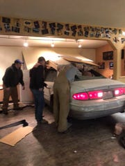 On Friday night, a car went through the Panther Cafe in Valier, causing extensive damage.