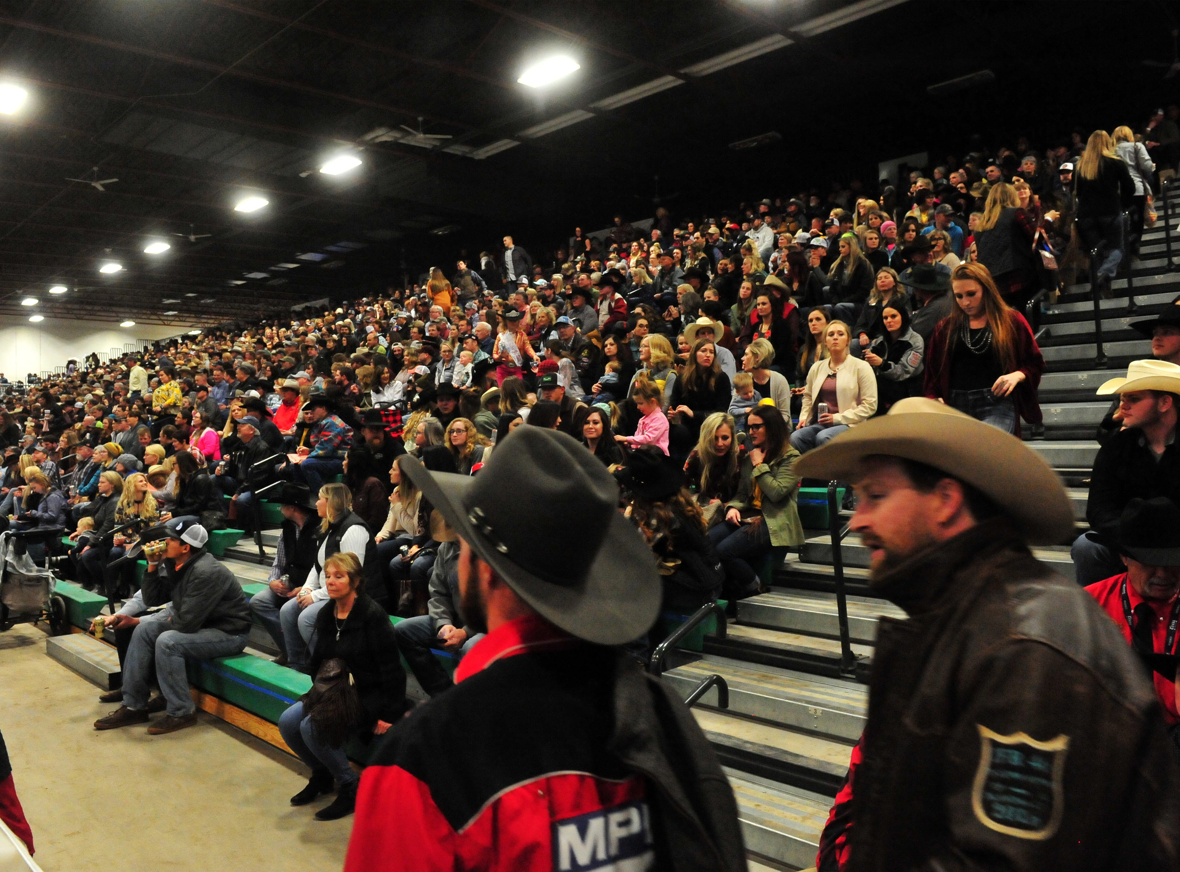 Bleachers full of rodeo fans at the Montana Pro Rodeo Circuit Finals in the Pacific Steel and Recycling Four Seasons Arena, Friday, January 11, 2019.