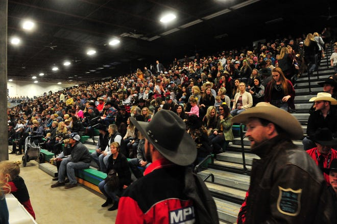 Bleachers full of rodeo fans at the Montana Pro Rodeo Circuit Finals in the Pacific Steel and Recycling Four Seasons Arena in 2019. The two-day event, a longtime Great Falls staple, starts Friday in Kalispell. The event was moved due to COVID-19 protocols.