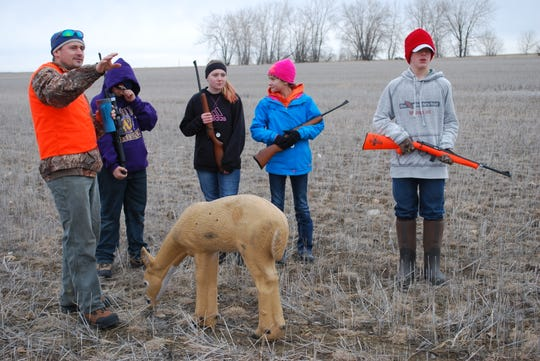 In this 2015 photo, hunter education instructor Tim Zabrocki directs students during a hunter education course in Glasgow.