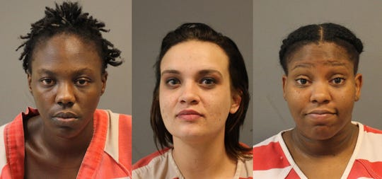 From left, Stephanie Alford, Juliannah Heggins and Kristen Robinson, were charged with prostitution on Saturday, Jan. 12, 2019.