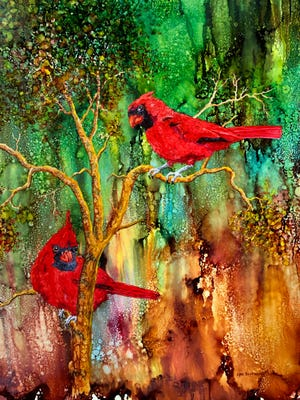 """Lynn Buckman's vivid works, such as this pair of cardinals in """"Watchful,"""" are displayed in an exhibit called """"Dreaming in Color,"""" which is currently on display at the Ohio Valley Art League Gallery in the Citi Center building in downtown Henderson."""