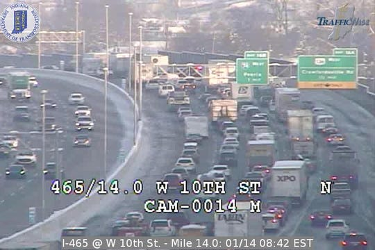 Traffic backed up on I-465 on the west side Monday morning.