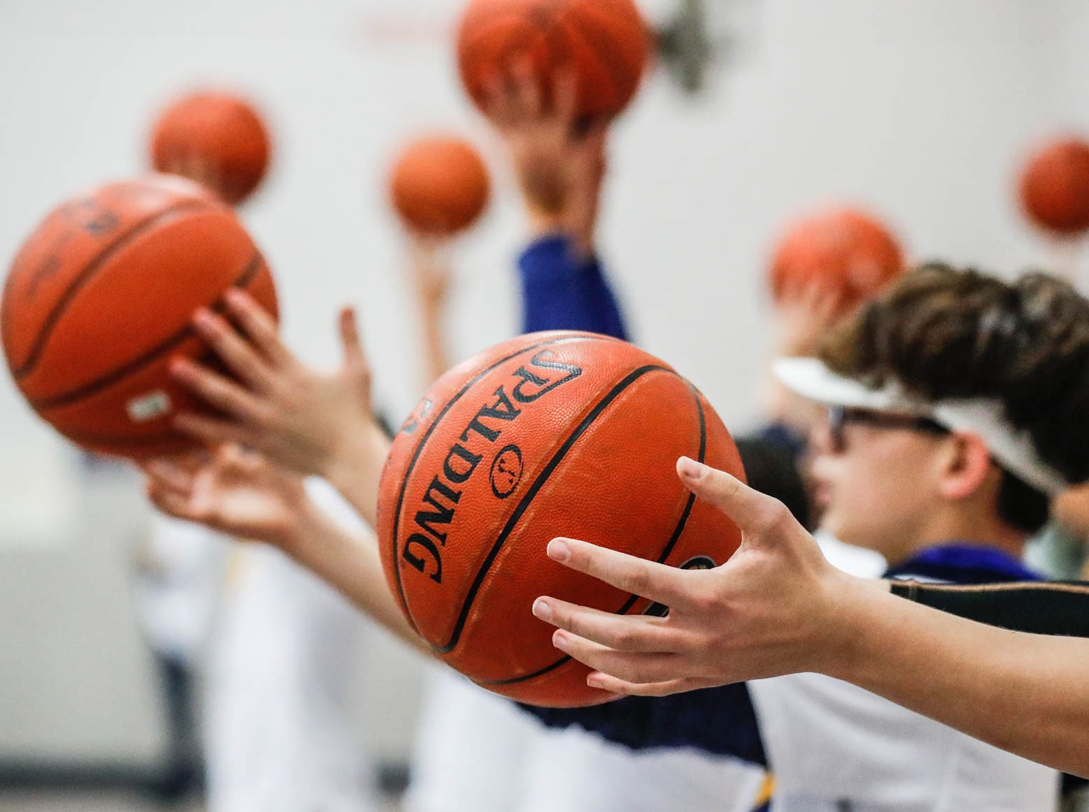 Children at Concord Neighborhood Center take part in a Jr. Indiana Pacers clinic, which included ball handling drills and a surprise visit by Indiana Pacers guard Victor Oladipo on Monday, Jan. 14, 2019.
