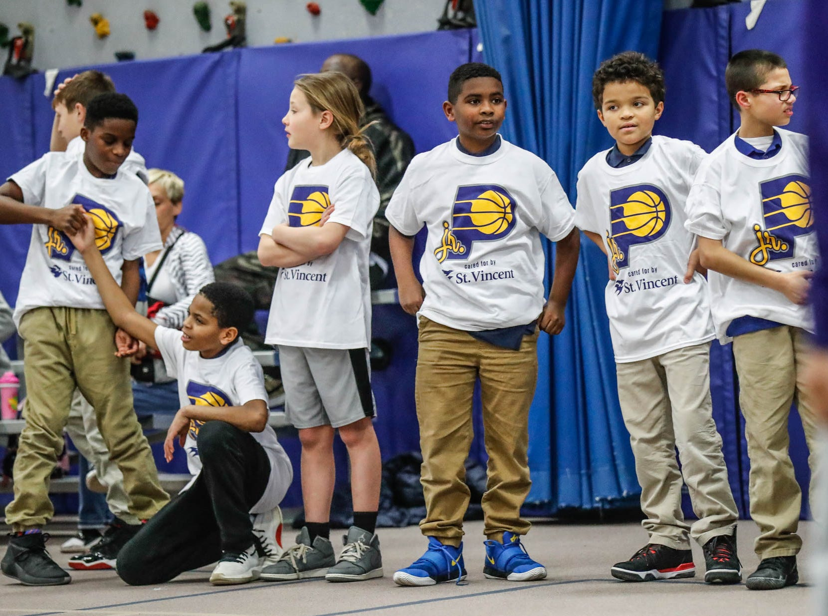 Children at Concord Neighborhood Center take part in a Jr. Indiana Pacers clinic, which included a surprise visit by Indiana Pacers guard Victor Oladipo on Monday, Jan. 14, 2019.