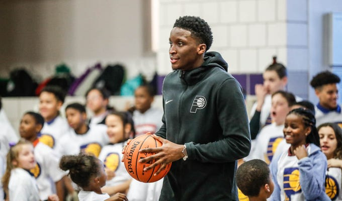 Indiana Pacers guard Victor Oladipo surprises children by making an appearance at a Jr. Pacers Clinic at Concord Neighborhood Center, on Monday, Jan. 14, 2019.