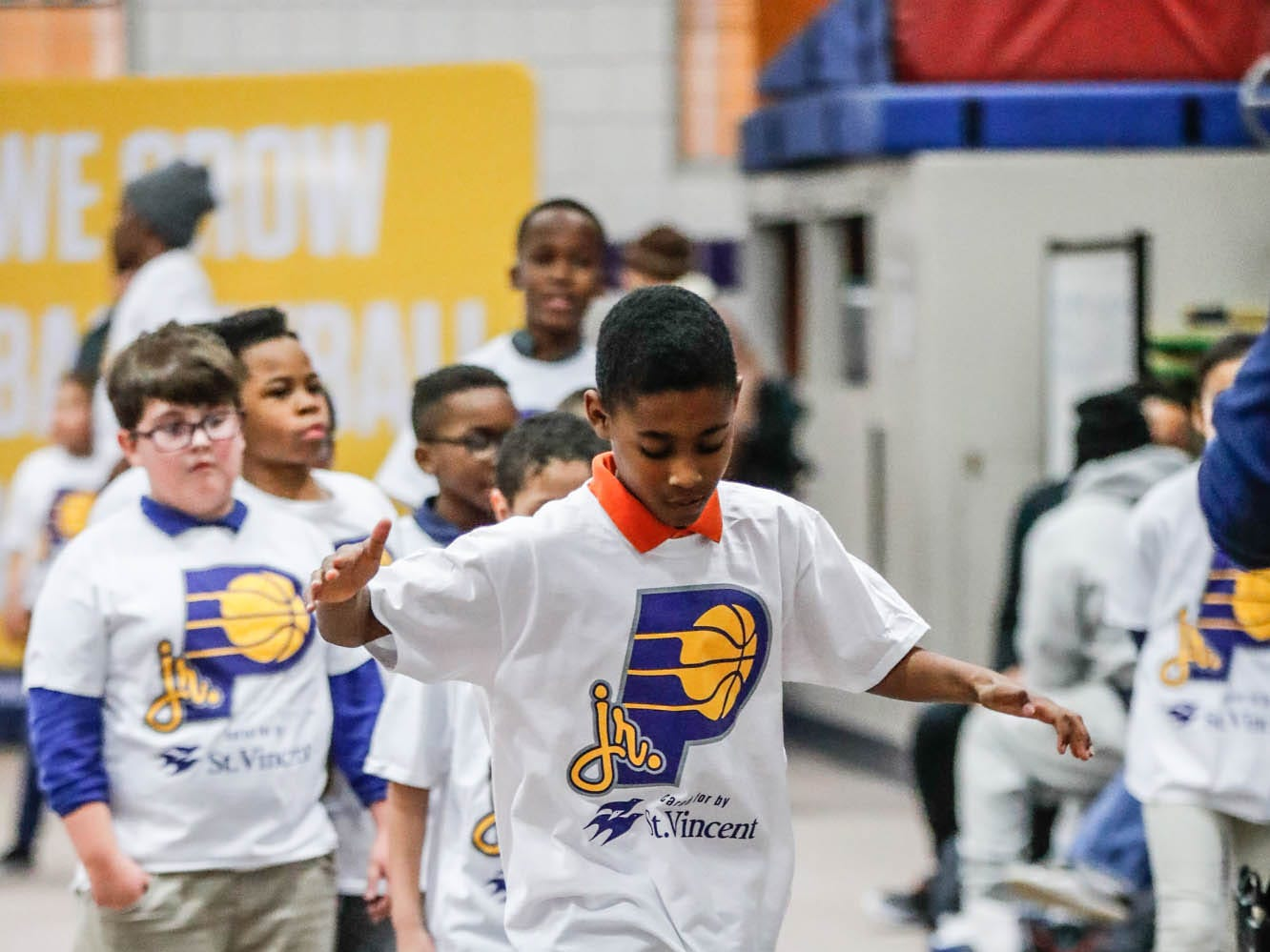 DJ Sawyers takes part in a Jr. Pacers Clinic at Concord Neighborhood Center, on Monday, Jan. 14, 2019.