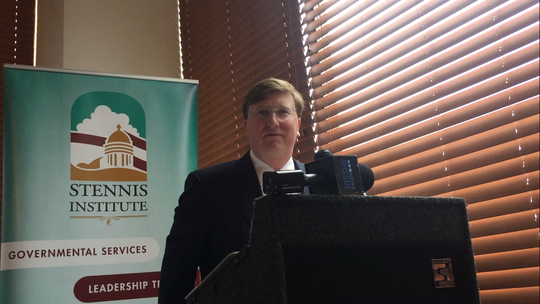 Lt. Gov. Tate Reeves speaks at the Stennis Capitol Press Forum on Monday, Jan. 14, 2019.