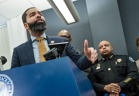 Jackson, MIss. Mayor Chokwe Antar Lumumba calls for for gun control while addressing crime in the city during a Monday, Jan. 14, 2019, news conference following two deadly shootings the previous Sunday. Rev. Anthony Longino, 62, was killed during a robbery outside his church on Hill Avenue Sunday morning and Calphrion Vardman, 19, was shot multiple times outside the Walmart on Highway 18 that  evening.