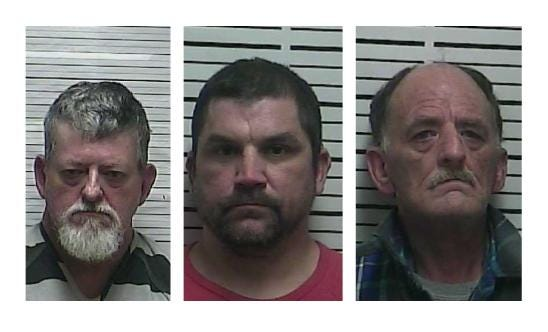 Randy Ellis, Jason Sprouse and Charles Bolin were each charged with possession of methamphetamine with intent to resale and possession of drug paraphernalia after two home searches by Weakley County investigators over a four-day period.