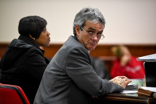Assistant District Attorney Mike Mosier looks back towards the audience during the arraignment for Elijah Garrison in connection with the first fatal shooting in Jackson in 2019 at Jackson CIty Court in Jackson, Tenn., on Monday, Jan. 14, 2019.