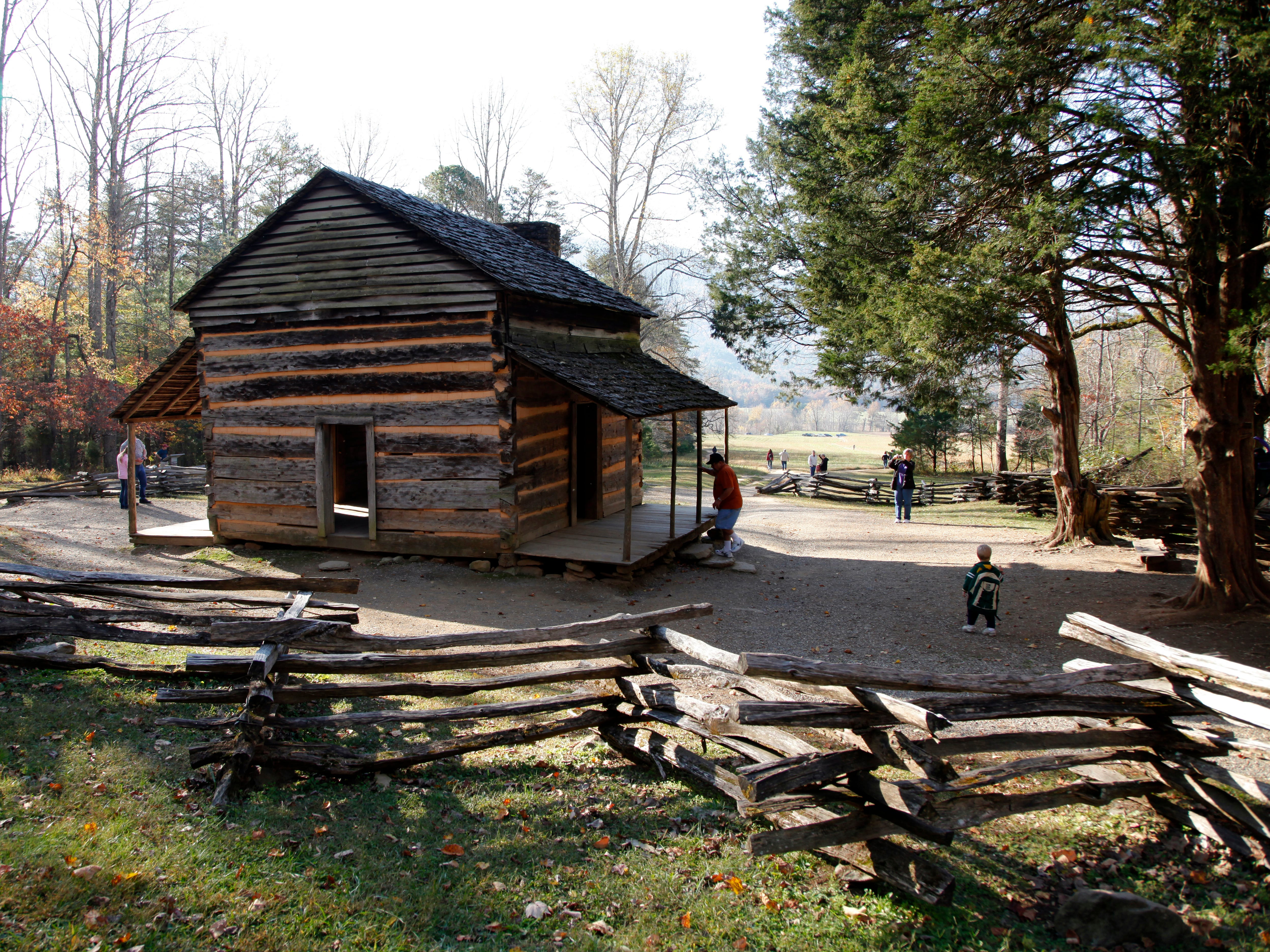 The John Oliver Cabin can be seen just a short distance from the start of the Rich Mountain Loop Trail in Cades Cove in the Great Smoky Mountains National Park Wednesday, Oct. 26, 2011.  (ADAM BRIMER/NEWS SENTINEL)