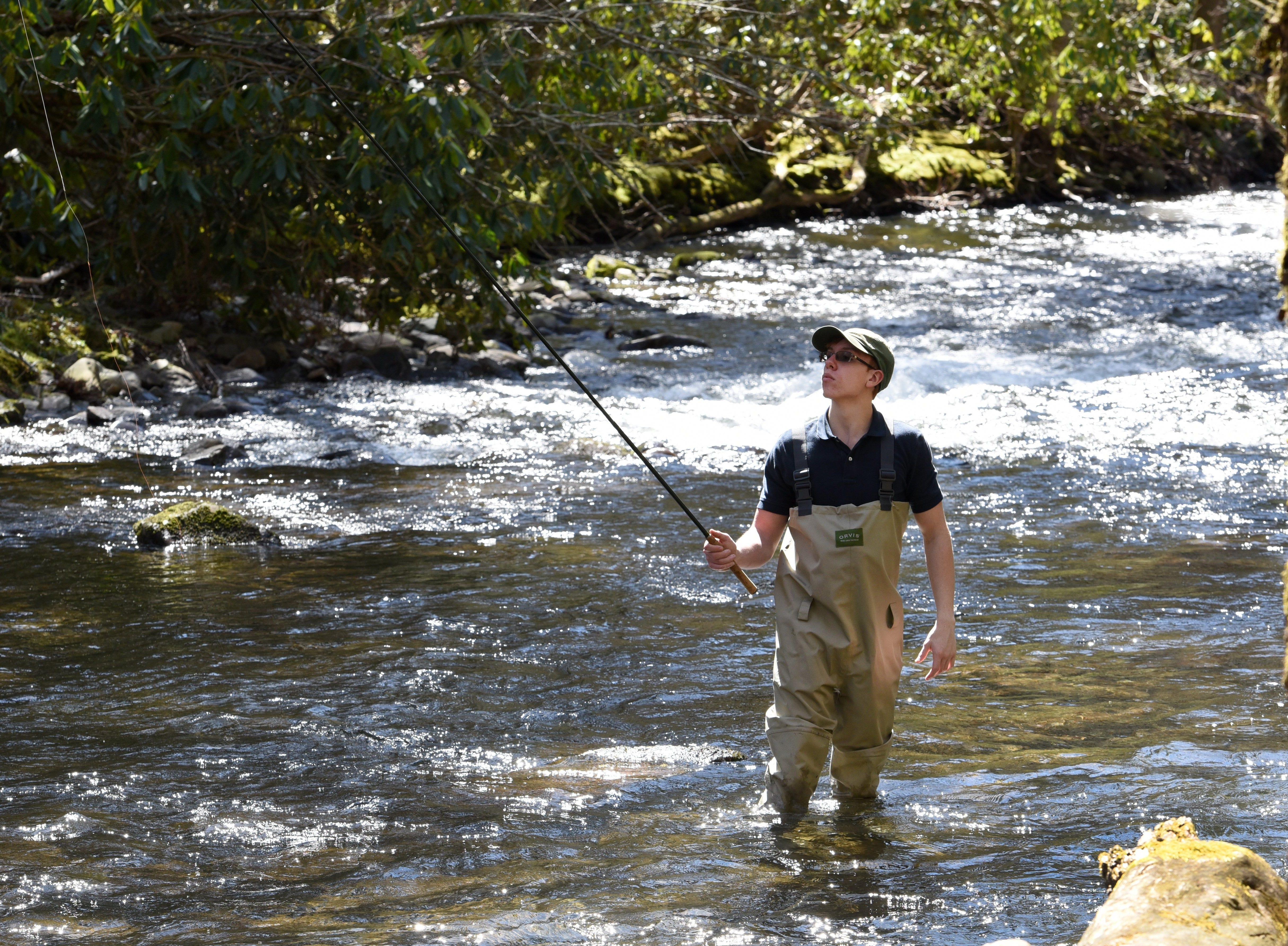 Alex Bermuda fishing in the Little River along the road to Elkmont Campgrounds in the Great Smoky Mountains National Park Tuesday, Mar. 15, 2016.  (MICHAEL PATRICK/NEWS SENTINEL)