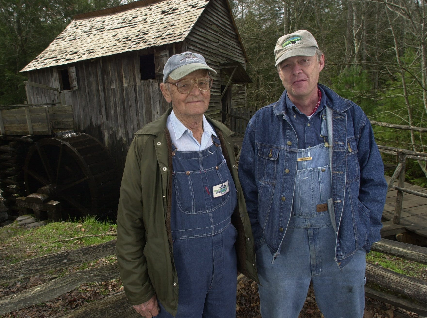 Cable Mill operators Hubert Sullivan, left, and Gary Haaby in Cades Cove in the Great Smoky Mountains National Park.  2003.