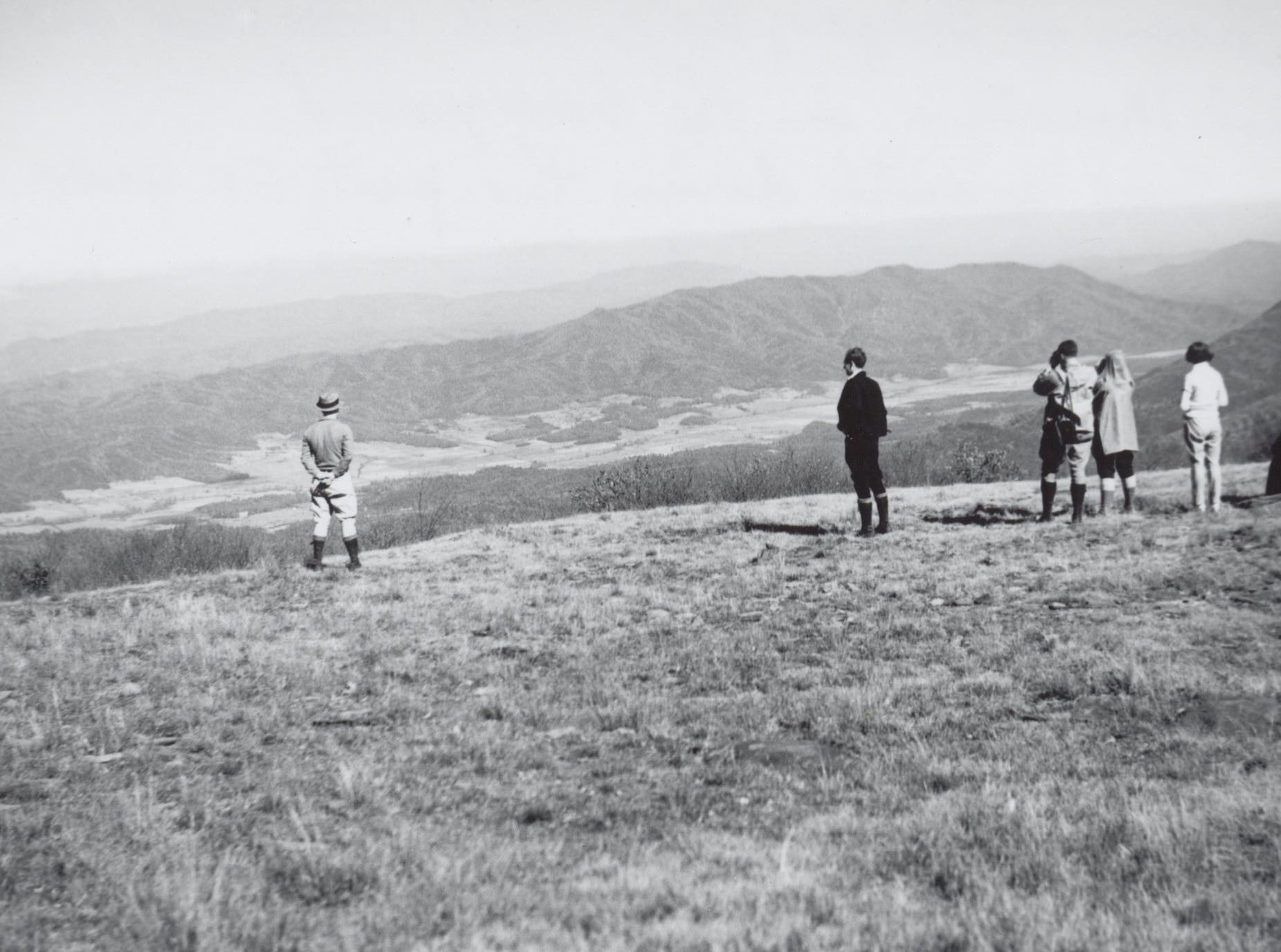 View from Gregory Bald into Cades Cove ca. 1934, in Great Smoky Mountains National Park.
