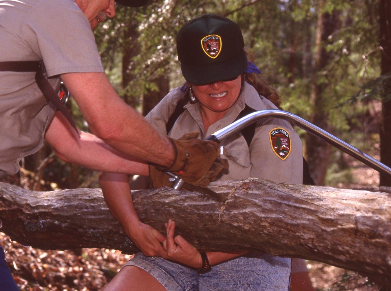 Removing fallen limbs in the Great Smokey Mountains National Park, April, 1991.