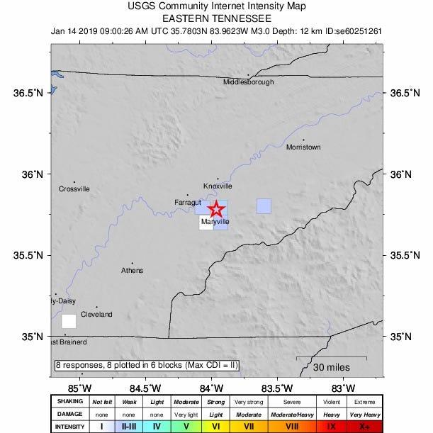 3.0 magnitude earthquake strikes near Maryville