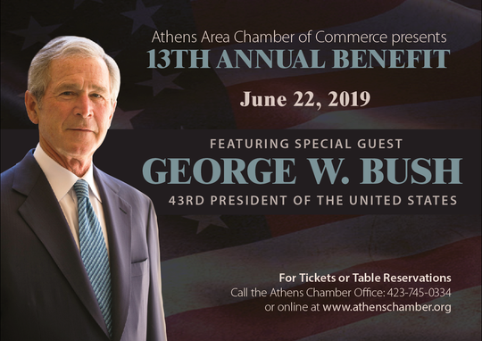 President George W. Bush will be the keynote speaker for the Athens Area Chamber of Commerce's 13th Annual Benefit dinner in June.