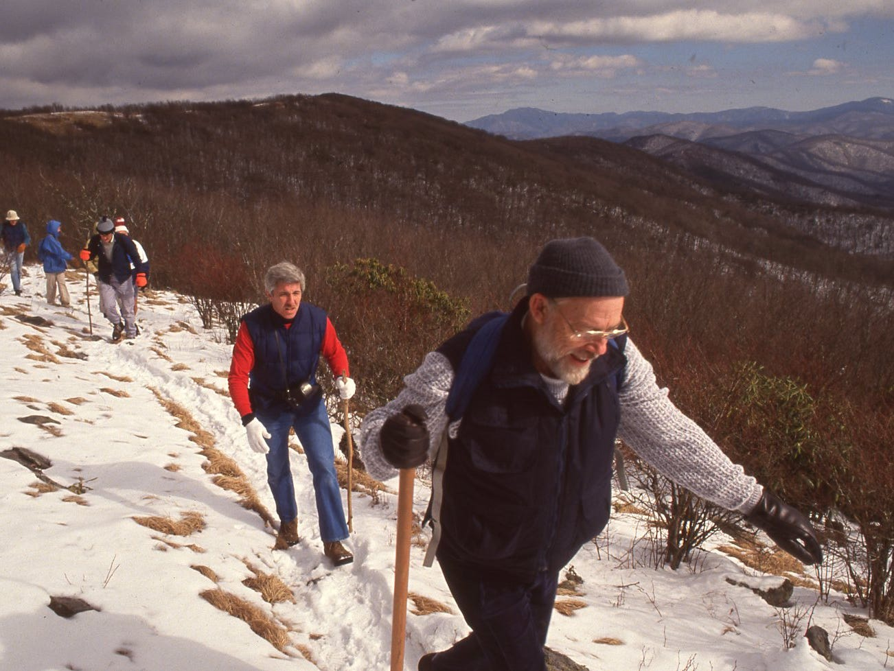 Zane Ardary and Don Watson lead the gang from Thunderhead back to Spence Field in the Great Smokey Mountain National Park.