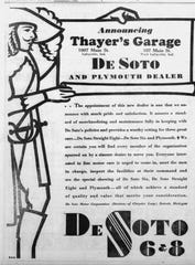 Thayer's Garage has locations at 1007 Main St. in Lafayette and in West Lafayette, as seen in this ad in the 1931 Journal & Courier.